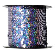 Mandala Crafts 6mm Flat Gold Silver Black Red Blue Trim Paillette Spangle Sequins String Ribbon Roll, 80 Yards