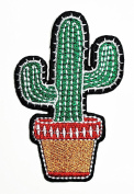 HHO Green Cactus cartoon kids Patch Embroidered DIY Patches, Cute Applique Sew Iron on Kids Craft Patch for Bags Jackets Jeans Clothes