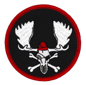 Pirate Moose Skull 6.4cm Diameter Round Embroidered Patch