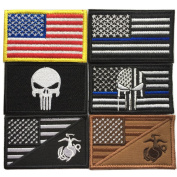 Bundle 6 pieces Full colour USA American Thin Blue Line Police Flag Marine Corps Usmc Black Ops Tactical Fully Embroidered Morale Tags Patch