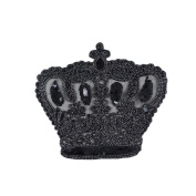25cm DIY Clothes Sewing Patch Sequins Rope Black crown Large Applique Fashion Accessories for T-shirt
