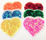Dandan DIY 12pcs Big Love Heart with Sequin Kid Embroidered Heart Shaped Patch Sew On/Iron On Patch Applique Clothes Dress Plant Hat Jeans Sewing Flowers Applique Diy Accessory