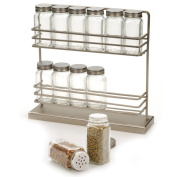 Stainless Steel Two-Tier Spice Rack with 12 Bottles