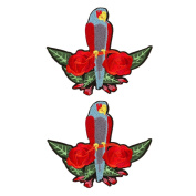 Floral Embroidered Patches Iron or Sew on Patches Rose Flower Applique Motif for Clothing Accessories Decoration 1038 Pack of 2