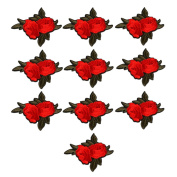 Floral Embroidered Patches Iron or Sew on Patches Rose Flower Applique Motif for Clothing Accessories Decoration 1030 Pack of 10