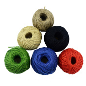 Aokbean Colourful Jute Rope Twine For Arts & Crafts Present Wrapping DIY Gift 65.5 Yards/Spool Pack of 6 (2mm)