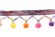 Yalulu 5 Yards Black Retro Rainbow Pom Pom Tassel Trim Ball Fringe Ribbon Handwork DIY Sewing Accessory Lace For Home Wedding Craft Party Decoration
