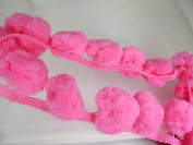 Giant Jumbo Bright Pink Pompom Extra Big Bobble Ball Fringe Trim Needlework Craft Sewing Supplies