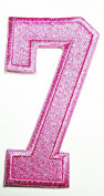 HHO PINK Number 7 No 7 math counting no 7 school Patch Embroidered DIY Patches, Cute Applique Sew Iron on Kids Craft Patch for Bags Jackets Jeans Clothes