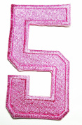 HHO PINK Number 5 No 5 math counting no 5 school Patch Embroidered DIY Patches, Cute Applique Sew Iron on Kids Craft Patch for Bags Jackets Jeans Clothes