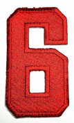 HHO RED Number 6 No 6 math counting no 6 school Patch Embroidered DIY Patches, Cute Applique Sew Iron on Kids Craft Patch for Bags Jackets Jeans Clothes