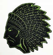 HHO Red Indian tribal chief (Black Green) Patch Embroidered DIY Patches, Cute Applique Sew Iron on Kids Craft Patch for Bags Jackets Jeans Clothes
