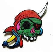 HHO Pirate Skull Patch Embroidered DIY Patches, Cute Applique Sew Iron on Kids Craft Patch for Bags Jackets Jeans Clothes