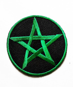 HHO Green Star Ninja Star Embroidered Patch Embroidered DIY Patches, Cute Applique Sew Iron on Kids Craft Patch for Bags Jackets Jeans Clothes