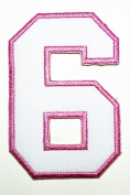 HHO White Pink Number 6 No 6 math counting no 6 school Patch Embroidered DIY Patches, Cute Applique Sew Iron on Kids Craft Patch for Bags Jackets Jeans Clothes