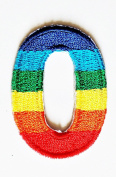 HHO Rainbow Number 0 No 0 math counting no 0 school Patch Embroidered DIY Patches, Cute Applique Sew Iron on Kids Craft Patch for Bags Jackets Jeans Clothes