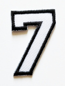 HHO White-Black Number 7 No 7 math counting no 7 school Patch Embroidered DIY Patches, Cute Applique Sew Iron on Kids Craft Patch for Bags Jackets Jeans Clothes