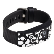 french bull - fitbit charge/fitbit charge hr slim designer sleeve - band cover - vines black/white