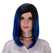 Women's Short Straight Bob Gradual Colour Halloween Cosplay Wig 32cm with Cap