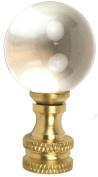 Jandorf 60112 Tapped Ball Finial, 1/4-27, 2.5cm - 2.2cm L, Glass Ball, Brass, Clear