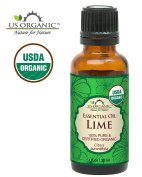 US Organic 100% Pure Lime Essential Oil - USDA Certified Organic, Steam Distilled - W/ Euro droppers (More Size Variations Available)