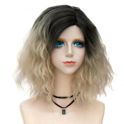 Lolita Dark Root Blonde Ombre Short 14 Inches (35CM) Wavy Party Lady Cosplay Wig + Wig Cap