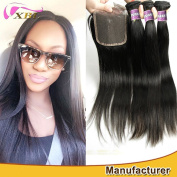 Xblhair Brazilian 7A Grade Straight Virgin Hair 3 Bundles Weave 100% Unprocessed Remy Human Hair Extensions Natural Colour with Human Hair Accessions 4x4 Top Free Part Lace Closure