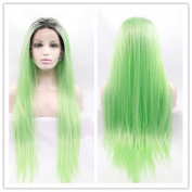 SiYi Ombre Grass Green Lace Front Wig Long Straight Synthetic Pastel WigFancy Cosplay Full Wigs for Women