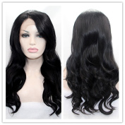 SiYi Black Wavy Lace Front Wig Long Curly Synthetic Wig with Side Bangs Glueless Costume Hair Wig for Women