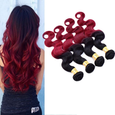 XCCOCO Hair 7A Ombre Burgandy Hair Weave Black to Red Body Wave Pack of 4 Cheap Wavy Bundle Deals 100% Peruvian Virgin Sleek Human Hair Extension 95-100g/piece(10 12 14 41cm )