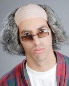 Old Man Comb Over Grandpa Slightly Bald Grumpy Men's Mixed Grey Wig by Enigma Costume Wigs