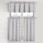 Maison Trellis Cotton Blend Kitchen Curtain Tier & Valance Set - Grey