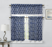 Geo Trellis 3 PC Faux Linen Kitchen Curtain Tier & Valance Set - Navy