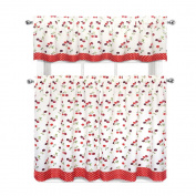Cherries & Polka Dots Complete 3 Pc. Kitchen Curtain Tier & Valance Set
