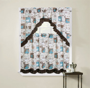 Regal Home Collections Cappuccino Complete Kitchen Curtain Tier & Swag Set - Blue/Multi