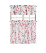 Regal Home Collections Misaki Complete Kitchen Curtain Tier & Valance Set - Berry