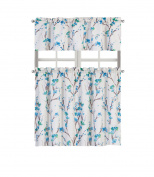 Regal Home Collections Misaki Complete Kitchen Curtain Tier & Valance Set - Blue