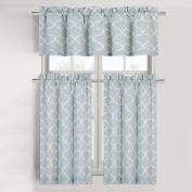Maison Trellis Cotton Blend Kitchen Curtain Tier & Valance Set - Restoration Green
