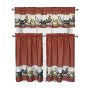 """Roosters & Sunflowers """"Live~Laugh~Love"""" Complete 3 Pc. Kitchen Curtain Tier & Valance Set"""