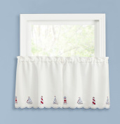 BELLE MAISON LIGHTHOUSE EMBROIDERED TIER PAIR