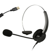 Hands-free Call Centre Noise Cancelling Volume Control Cord Monaural Headset Headphone w/ Mic Cord w/ USB Plug