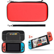 EEEKit 2in1 Starter Kit for Nintendo Switch, Portable Carrying Travel Protective Case Game Card Storage Bag, Clear HD Fu