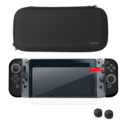 Nintendo Switch Starter Kit, by Insten Travel Carrying Case + Joy Con (L/R) Cover + Thumb Grip Stick Caps (Style 1) + Screen Protector For Nintendo Switch Console Controller, Black/Black