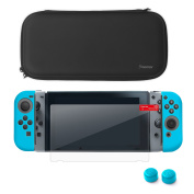 Nintendo Switch Starter Kit, by Insten Travel Carrying Case + Joy Con (L/R) Cover + Thumb Grip Stick Caps + Screen Protector For Nintendo Switch Console Controller - Black/Blue