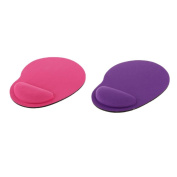 MagiDeal 2x Soft Gel Rest Wrist Support Mat Mouse Pad Gaming Cheap Rose Red+Purple