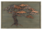 Aged Green Wood & Metal Tree Wall Art