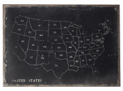 Black / Chalk Chalk Outline Map Of Usa On Black Canvas