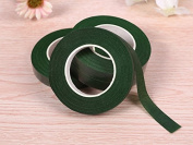 3 Rolls Floriculture Paper Tape ,Floral Tape for Stem Wrap Flower Tape with 50 Pieces 41cm Floral Stem Wire,Dark Green