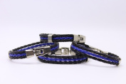 Rope Chain Police Lives Matter Flag Leather Thin Blue Line Cops Paracord Survival Bracelet Stainless Steel Shackle Easy- Hook