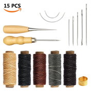 SIMPZIA 15 Pieces Leather Craft Tools with Hand Sewing Needles Drilling Awl Waxed Thread and Thimble for Leather Upholstery Carpet Canvas DIY Sewing